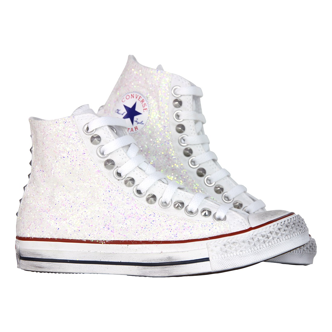 converse all star bianche borchie